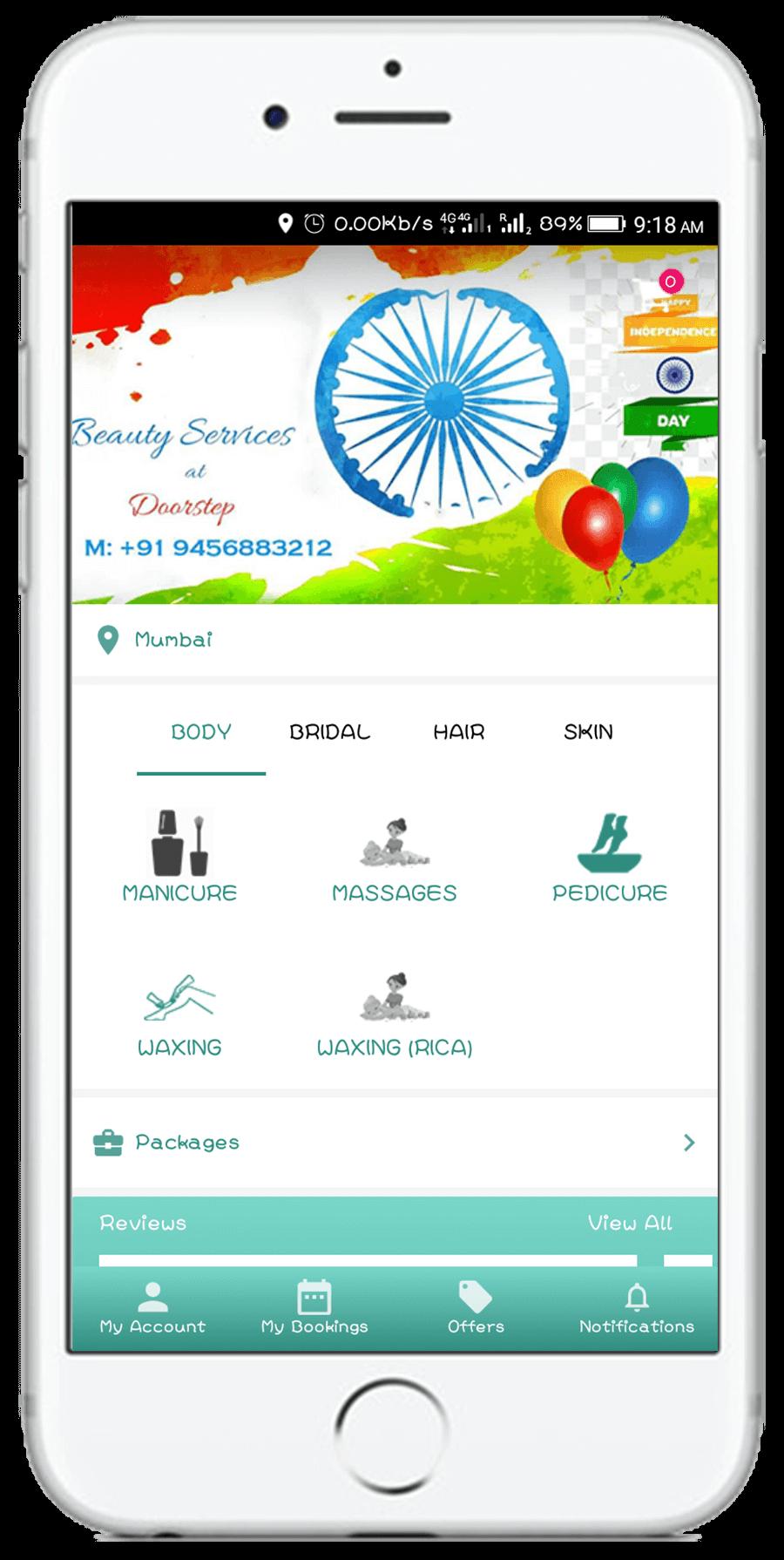 Megacares app screen shot